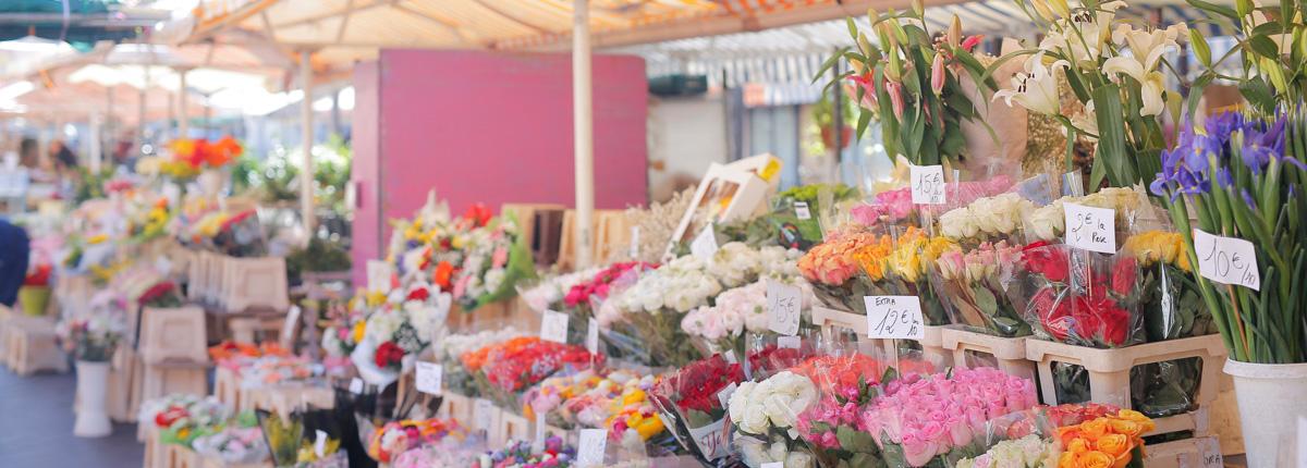 南仏ニースの旅紀行(前編)|サレヤ広場の花市場に並んだ花々は、カラフルなのにキュートすぎない。大人な雰囲気にきゅん!