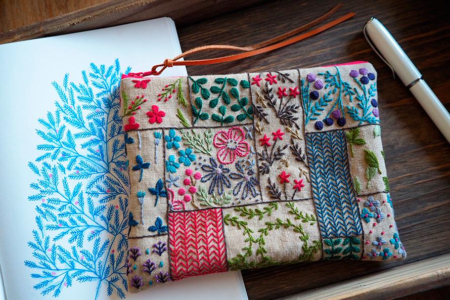 植物刺繍と季節のお話 第6話(後編)| パッチワーク刺繍のポーチ