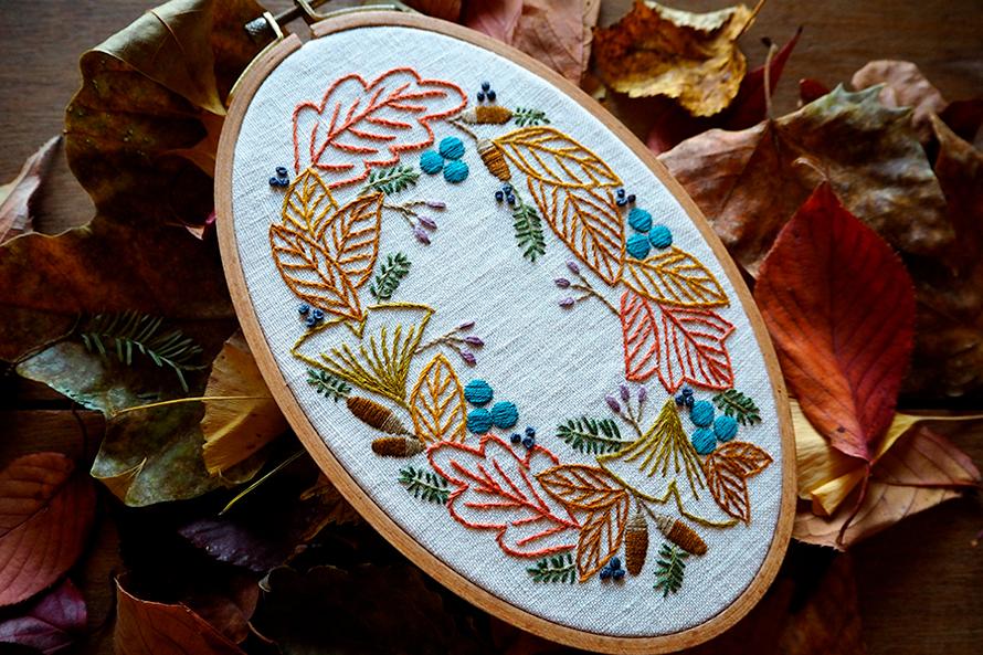 植物刺繍と季節のお話 第8話(後編)|  秋の葉のリース