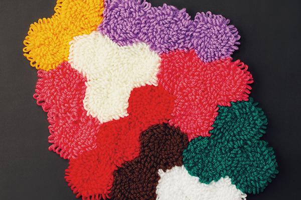 リング編みのモコモコマット