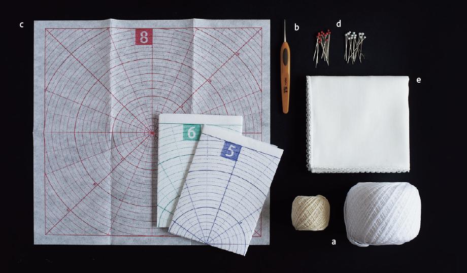 『パイナップルレース編みの小さなドイリー』より 材料と道具