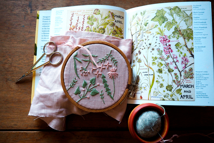 植物刺繍と季節のお話 第12話(前編)|早春色のピンクッション