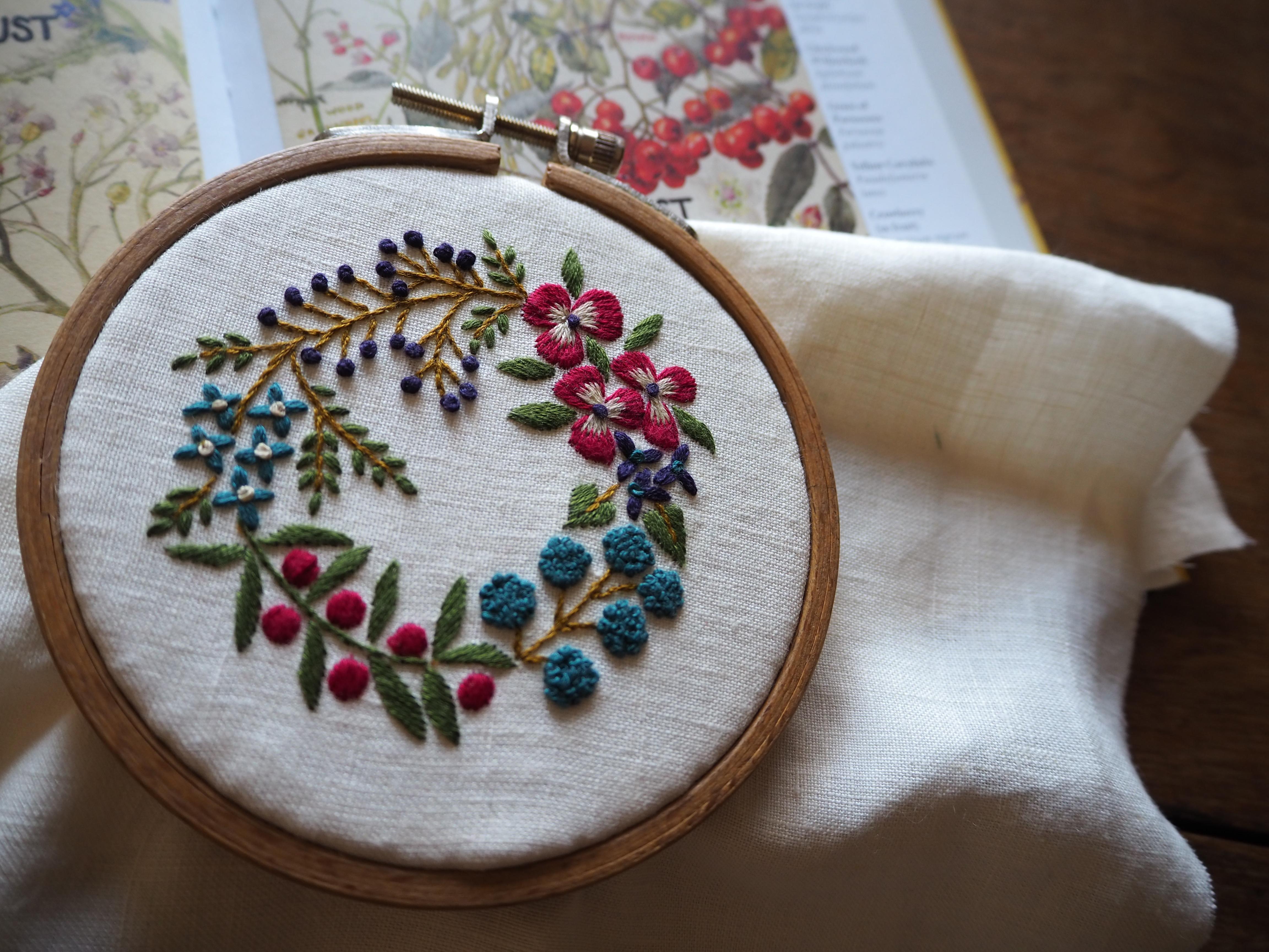 『植物刺繡と12か月のおはなし』楽天特典図案